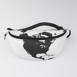 Dymaxion World Map (Fuller Projection Map) - Minimalist Black on White Fanny Pack