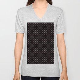 Pantone Red Pear Thin Line Stripe Grid (Pinstripe) and Polka Dots on Black Unisex V-Neck