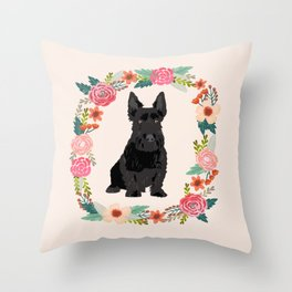 scottie dog breed floral wreath pet portrait dog gifts Throw Pillow
