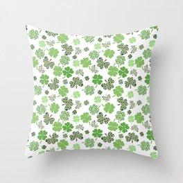 St. Patrick's Day Green Shamrock Clover Throw Pillow