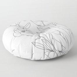 Minimal Line Art Woman with Peonies Floor Pillow