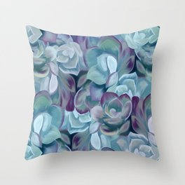 Blue Sedums Throw Pillow