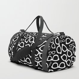 Smart Glasses Pattern - White on Black Duffle Bag