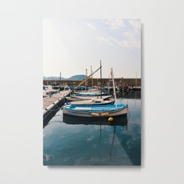 Blue boats in the harbor of St Tropez, France | Pastel colored houses | Travel photography | Poster for on your wall Metal Print