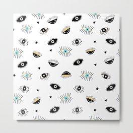 Eyes pattern white background Metal Print