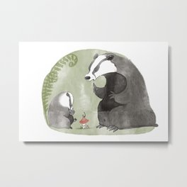 Papa Badger Metal Print