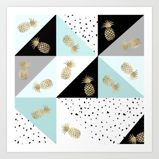 Pastel color block watercolor dots faux gold pineapple by pink_water