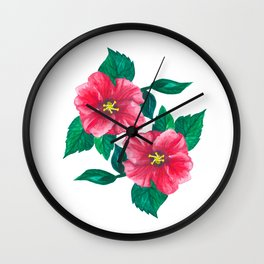 Two Pink Hibiscus Wall Clock