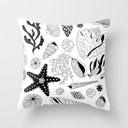 Tropical underwater creatures and seaweeds Throw Pillow