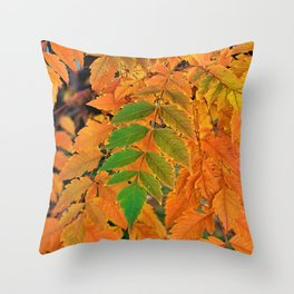 Last Leaves of Green Throw Pillow