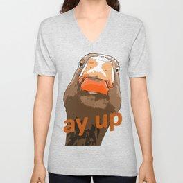 Ay Up Duck Expresssive Face Cartoon Style Unisex V-Neck