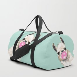 Bubble Gum Sneaky Llama in Green Duffle Bag