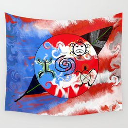 Taino Puerto Rican medallion & Feather. Wall Tapestry