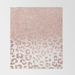 Trendy modern faux rose gold glitter ombre leopard pattern Throw Blanket