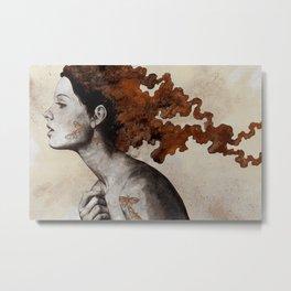 Moral Eclipse I: Rust | moth tattoo woman portrait Metal Print