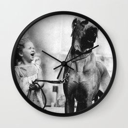The Happiness of Little Girls and Great Danes black and white photograph Wall Clock