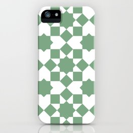 Islamic style geometrics sage green pattern iPhone Case