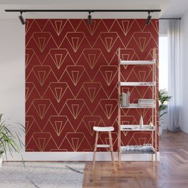Red and gold art-deco geometric pattern Wall Mural