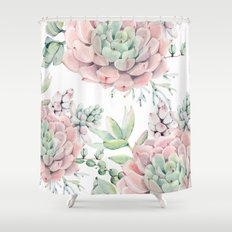 Pink Succulents by Nature Magick Shower Curtain