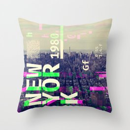 NEW YORK (GLITCH CITY #000) Throw Pillow