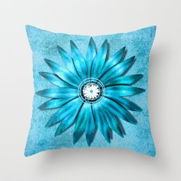 Tiffany Blue and Diamonds Too (Flower) Throw Pillow