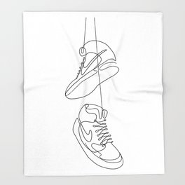 Sneakers simple minimal one line art, hanging shoes branded shoes  Throw Blanket
