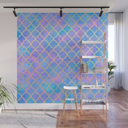 Pastel Pink Blue Gold Moroccan Quatrefoil Pattern Wall Mural