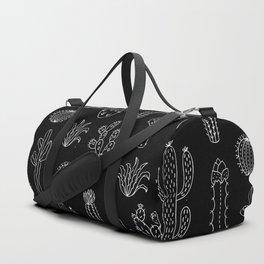 Cactus Silhouette White And Black Duffle Bag