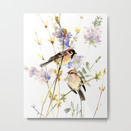 Sparrows and Spring Blossom Metal Print