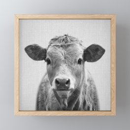 Cow 2 - Black & White Framed Mini Art Print