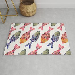 Indonesian Fish Duo – Navy & Coral Palette Rug
