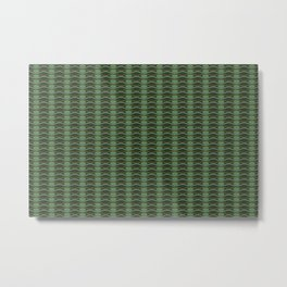 Geometric pattern with waves and pebbles in green Metal Print