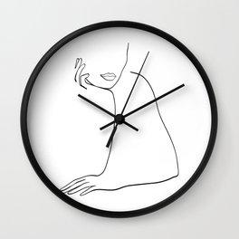 Woman Listening Wall Clock