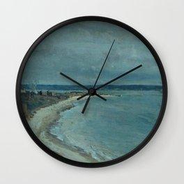 Jean-Baptiste-Camille Corot - Le Havre La mer vue du haut des falaises Wall Clock