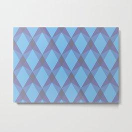 Complex interlocking hexagon and diamond pattern (blue) Metal Print