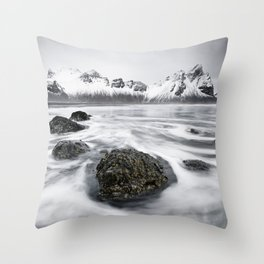 Mountain range in front of wild surf Throw Pillow