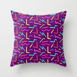 Pop Shapes Bright Pastels on Purple Throw Pillow