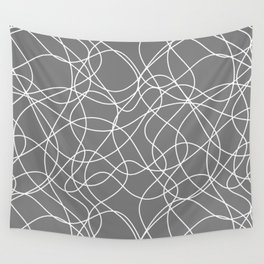 Funky Line Art White Scribble Lines on Gray Wall Tapestry