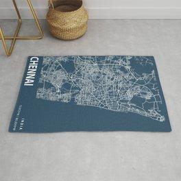 Chennai Blueprint Street Map, Chennai Colour Map Prints Rug