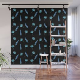 Elegant Tropical Pattern with a black background Wall Mural