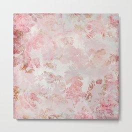 Vintage Floral Rose Roses painterly pattern in pink Metal Print