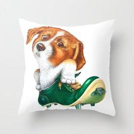 A little dog in a spike Throw Pillow
