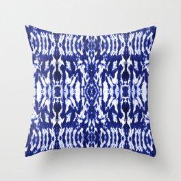 Ayashi Shibori Ikat Blue Throw Pillow