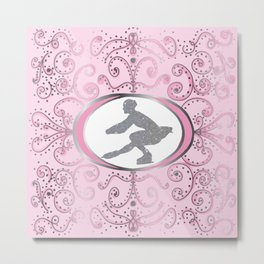 Figure Skater Silver Glitter with Pink Swirls and Dots Design 2 Metal Print