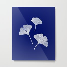 Ginkgo Biloba | Blue Background Metal Print