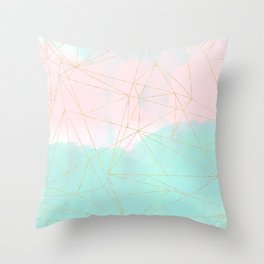 Watercolor abstract and golden triangles design Throw Pillow