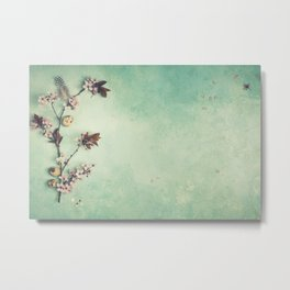 branch with cherry pink blooming flowers on rustic background Metal Print