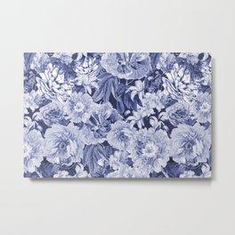 Nostalgic Blue Flower Pattern Metal Print