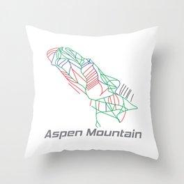 Aspen Mountain Colorado Ski Pist Map Gift Throw Pillow