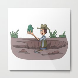 Archeologist Scientists at excavations Metal Print